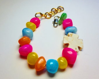Primary Colors Polished Stone Howlite Cross Rosary Bracelet