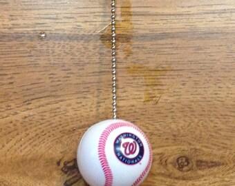 Handmade, Wahington Nationals Plastic Baseball Pull Chain, Ceiling Fan Pulls