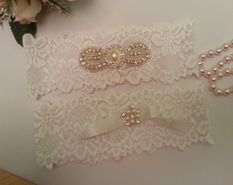 Stretch Lace Rhinestone Garter set, White Stretch Lace, Rhinstone Garters, Bridal Garters