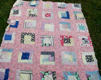 "Vintage FEED SACK QUILT Multicolor Blocks Feedbag Backing Cotton Blanket Liner Cutter Project 67"" x 82"" Throw"