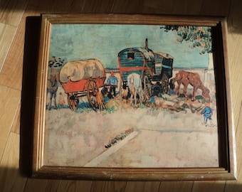 "Vintage VanGogh Print of the original painting titled ""Gypsy Camp"" (1888) , A lithographic cardboard canvas print in rustic wooden frame"