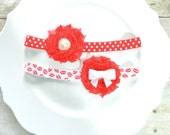 Kisses and Dots Valentines Day Shabbie Flowers Hair Accessory soft headband