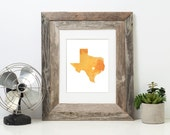 Texas or ANY STATE Map - Custom Personalized Heart Print - I Love Austin - Hometown Wall Art Gift Souvenir - Watercolor Series