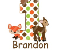 Woodland Forest Animals Birthday Number Digital Download Image for iron-ons, heat transfer, Scrapbooking, Cards, Tags, DIY YOU PRINT