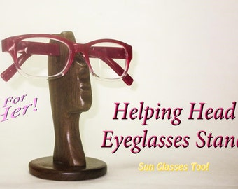 Helping Head Eyeglasses/ Reading Glasses Stand. Hand Crafted from Solid Walnut Hardwood, Makes a Great gift for Co-Workers