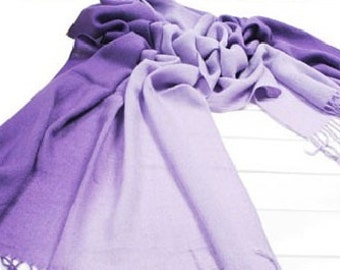 Purple Bridesmaid Shawl with Charm, Wedding Scarf, Wedding Party Gifts, Bridesmaid Gifts, Spring Wedding Favor, Ombre