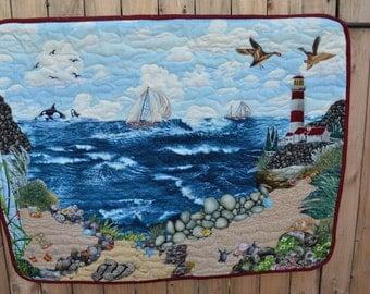Modern Art Quilt Landscape Fabric Applique Collage Folk Art Beach Scene Seaside Seashore Lighthouse Summer Wall Hanging Picture Quilt