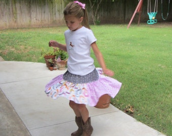 Handmade Boutique Girls Cowgirl Horseshoes Twirl Skirt size 4/5, 5/6, or 6/7