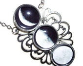 MOON PHASES Necklace Moon Goddess Statement Altered Art Jewelry Silver Plated Celestial Original Design Free USA Shipping