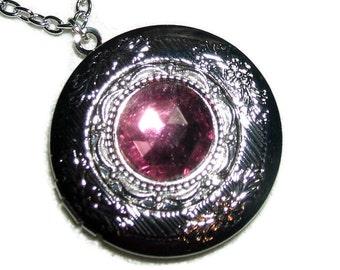 AMETHYST PURPLE Necklace LOCKET Czech Glass Faceted Stone Silver Pltd Pendant