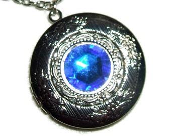 SAPPHIRE BLUE Necklace LOCKET Czech Glass Faceted Stone Silver Pltd Pendant