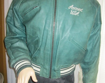 1992 Male Green LEATHER JACKET by Avirex Classics-Flight Style
