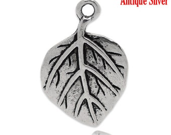 10 Leaf Charms - Antique Silver - 21x14mm - Ships IMMEDIATELY from California - SC1229