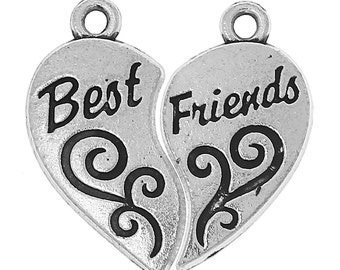 "Best Friends Pendants - Antique Silver - Carved ""BEST FRIENDS"" Message - 23x12mm - 3 Sets -  Ships IMMEDIATELY from California - SC1280"