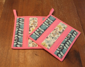 Quilted Pot holder Set, Insulated Hot pads, Floral and Butterfly Potholders, Pink, blue, Grey, fabric trivet, Kitchen Decor, insuated flower