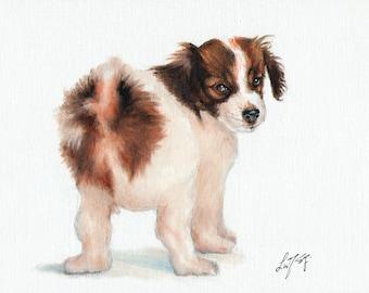 Original Oil Art PAPILLON Portrait Painting Artist Signed Artwork Puppy Dog