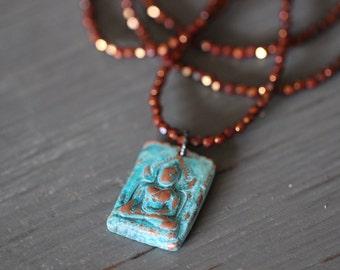 SUMMER SALE Buddha Necklace, Charm Necklace, Buddha Pendant, Copper, Aqua Patina, Thai Buddha, Buddha Charm, Boho Rustic, Yoga, Czech Glass,