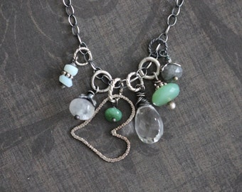 Charm Necklace, Sterling Silver, Heart Charm, Gemstone Necklace, Cluster Necklace, Green, Chrysoprase, Labradorite, Moonstone, Quartz