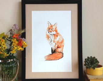 Fox Digital Print, Art Print, Wall Art, A3 onto archive grade paper