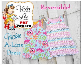 Reversible A-line Dress Pattern, Girl's Dress Pattern, Jumper Pattern, Toddler Dress Pattern, Baby Dress Pattern, pdf Sewing Pattern. Nickie