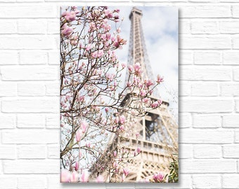 Paris Photograph on Canvas - Eiffel Tower and Magnolia, Gallery Wrapped Canvas, Large Wall Art, Urban Architecture Decor