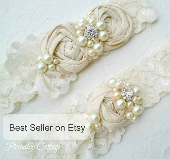 Ivory Garters Wedding: Ivory Wedding Garter Set Dupioni Silk Rosettes Heirloom