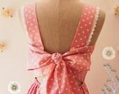 Backless Dress Back Bow Party Dress pink Polka Dot Vintage Retro Summer Dresd Vintage Sundress Pink Bridesmaid dress - Fairy Wings