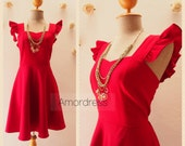 Olivia - Retro Pinup Scarlet Red Dress Ruffle Sleeve Dress Red Short Party Dress Red Short Bridesmaid Vintage Summer dress -XS-XL, Custom