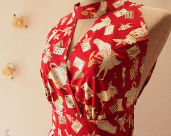 Alice in Wonderland Dress Maroon Red Cotton Dress Party Dress Vintage Tea Dress -Size S
