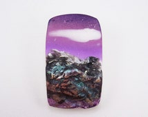 Handmade Polymer Clay 24x38mm Rectangle Pendant-Rustic Mountainscape-Springtime in the Rockies-Lavender-PA 9429