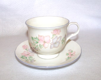 Sadler English China Teacup and Saucer Set, Romance Pattern with Blue Trim