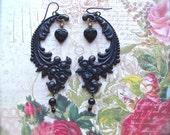 Large Matte Black, Black Paisley Earring, Matte Black Earring, Large Black Earring, Ebony Black Dangle, Large Paisley , Black Heart Paisley