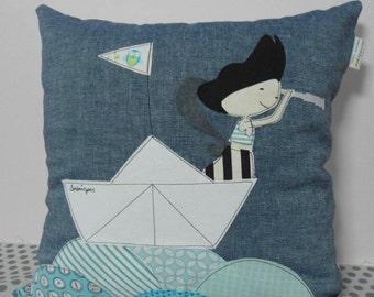 Custom personalized pirate boy decorative pillow cover/cushion cover/throw pillow/ Nautical decor/unique gift/Gifts for boys/Made to order