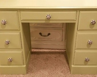 Shabby chic painted vintage Desk Vanity Ralph Lauren weaver green