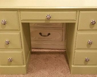 Shabby chic painted vintage Desk Vanity Ralph Lauren weaver green