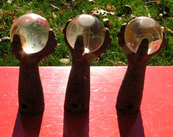 Three old CLAWFOOT  Hands with Glass Balls  -  Repurpose - Refinish - Steampunk - Salvage -1940s