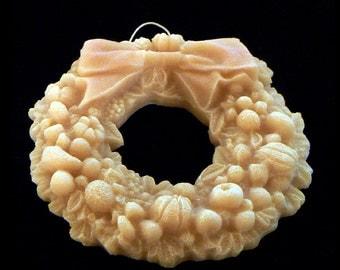 Handmade Artisinal Beeswax Ornament - CHRISTMAS WREATH w. Ornate Fruit, Leaves & Bow