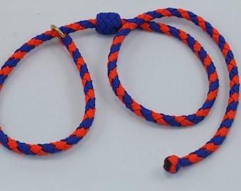"35"" Braided Paracord slip tab, suppression collar blue/orange"