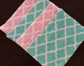 Baby Wipes Terry Cloth Unpaper Towels Quatrefoil Pink Mint Green Gift Set of 4