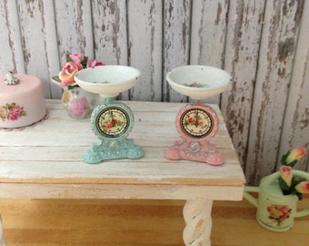 Dollhouse Miniature Shabby Chic Metal Vintage Weight Scale, Shop Scale with Pink Roses