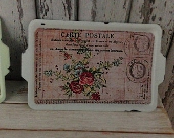 Dollhouse Miniature Shabby Chic Vintage White Metal Tin Tray Serving Tray Handled Tray Decorative