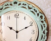 Flash SALE Shabby Chic WALL CLOCK in Mint or Any Color - Ornate - Home Decor