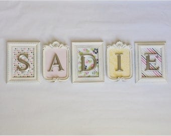 4-8 Vintage Style FRAMED LETTERS - Shabby Chic Monogram - nursery Name - floral paper -Glass N Backing