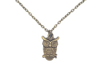 Owl Woodland Autumn Cute Charm Pendant Antique Bronze Handmade Necklace Jewellery Gift for Her
