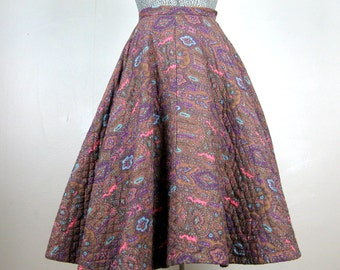 Vintage 1950s Quilted Skirt 50s Cotton Paisley Full Circle Skirt Size 25 Waist