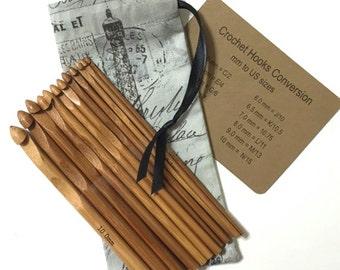 Bamboo Crochet Hooks, Drawstring Pouch, Gray Paris Eiffel Tower fabric Organizer Bag, Hook Size Chart