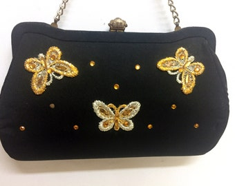 Vintage Butterfly Lily Bet Jeweled Black Purse Clutch 60s