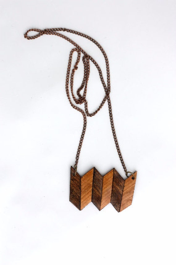 Wood & Leather Triple Chevron Necklace - Handcrafted necklace