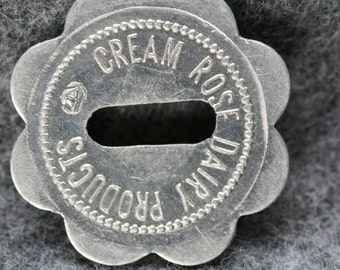 Vintage Cream Rose Dairy Products Trade Token - Stanwood , WA