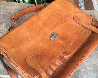 Vintage Leather satchel briefcase messenger Satchel school work bag